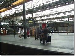Leeds station from the train.