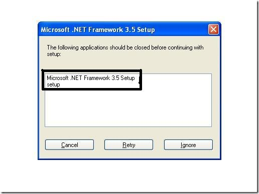 NET Framework 3.5 Installation Error 1